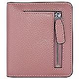 Women's RFID Blocking Small Genuine Leather Wallet Ladies Mini Card Case Purse (Pink)
