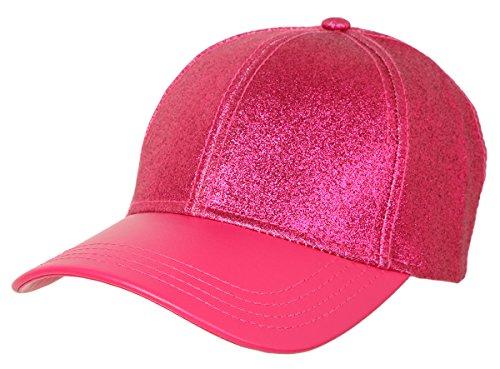 H-6BA5-24 Glitter Baseball Cap - Hot Pink