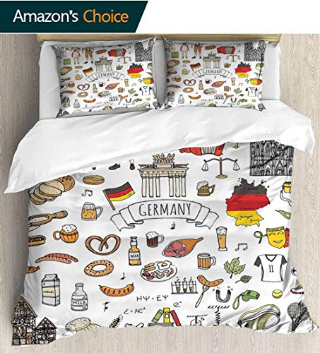 German Full/Queen Size Quilt Bedding Set,Hand Drawn Doodle of German Culture Icons Football Jersey Food Science and Music 3 Piece Bedding Quilt Coverlets - 100% Cotton Bed Quilts Coverlet 90