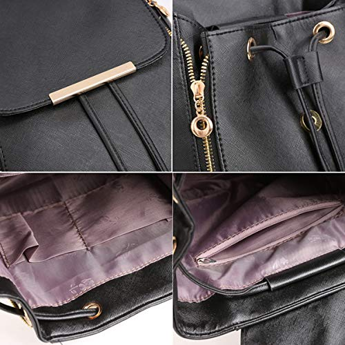 Women Fashion Student Synthetic Leather Solid Schoolbag Backpack Travel Bag