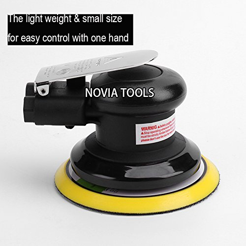 "5""Professional Air Random Orbital Palm Sander,Dual Action Pneumatic Sander,Polisher Sanding,Light Weight,Low Vibration, Heavy Duty by NOVIA TOOLS (Image #1)"