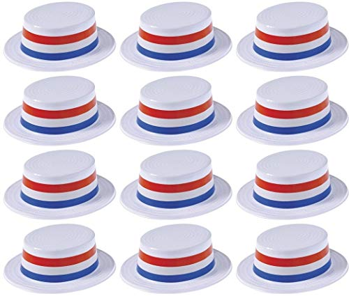 (12) Patriotic American Pride Party Plastic SKIMMER HATS