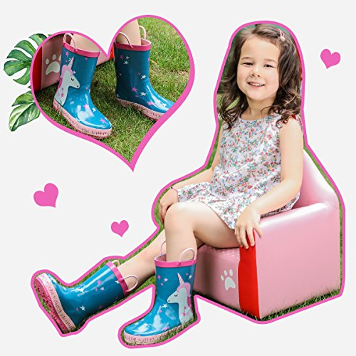 KomForme Kids Girl Rain Boots, Waterproof Rubber Printed with Handles in Various Prints and Different Sizes by KomForme (Image #2)