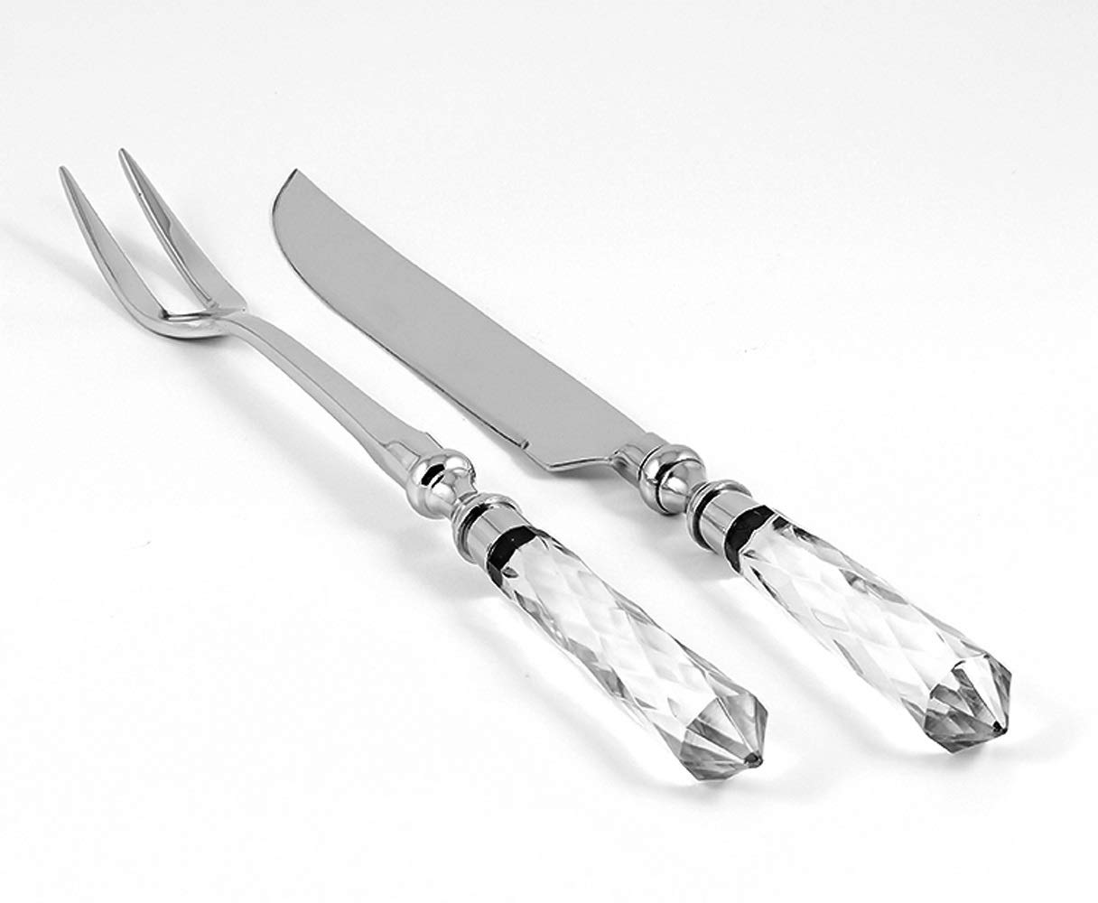Carving 2 Pc Set - Knife 14'' Long - Two Tined Fork 13'' Long - Crystal Handle - Beautiful Gift Box - by Barski - Made in Europe