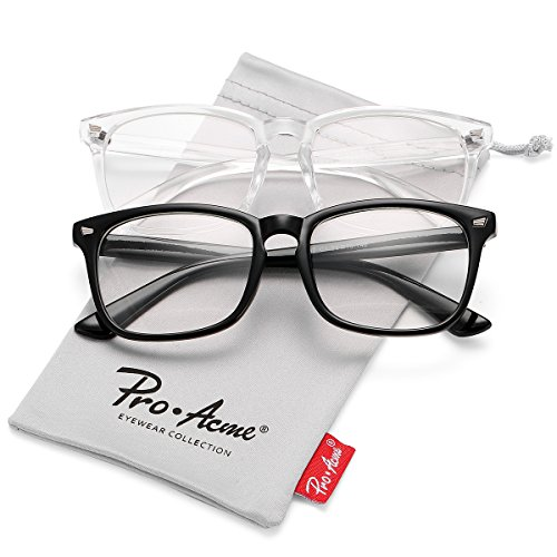 Pro Acme New Wayfarer Non-prescription Glasses Frame Clear Lens Eyeglasses (Black + Transparent)