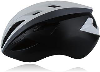 AHIMITSU Casco da Ciclismo Casco Ciclo di Ventilazione per Casco Regolabile per Adulto (Nero + Bianco) Articoli Sportivi