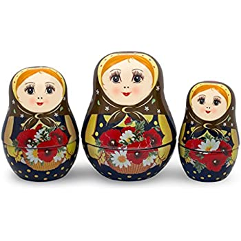 UNAMOI Matryoshka ceramic Measuring Cups, Poppy, Set of 6, Small, Red Floral