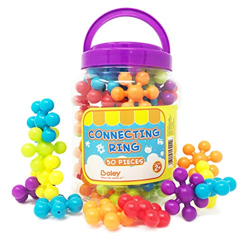 tional Building Block Rings - Educational Building Set for Kids, Children, Toddlers - Includes Colorful Building Pieces and Convenient, Easy Use Storage Bucket - Assorted Colors ()