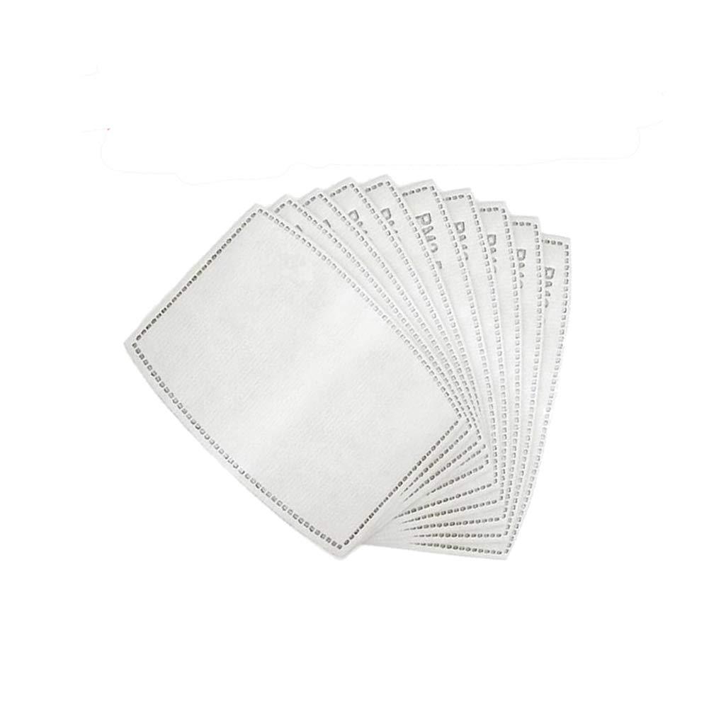 DINKANUR 100pcs filtros de carbón activado PM2.5 de 5 capas reemplazables de papel antivaho para adultos, hombres y mujeres