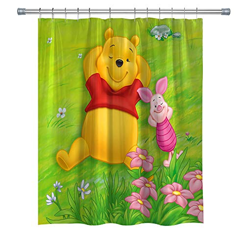 Elite ETSPY Anime Decor Shower Curtain by, Winnie Ther Pooh and Piglet, Waterproof Polyester Shower Curtain Set with Hooks, 71X 71 in