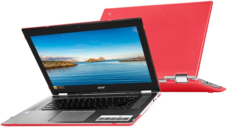"""mCover Hard Shell Case for 15.6"""" Acer Chromebook Spin 15 CP315 Series (NOT Compatible with Older C910 / CB5-571 / CB3-531 / CB515 Series) Convertible Laptop (Red)"""