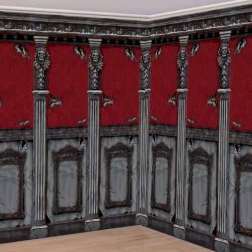 Amscan Gothic Haunted Mansion House Halloween Trick or Treat Party Scene Setters Room Roll Wall Decoration, Plastic, 48 x 20', Pack of 2. Decoration, black/red by Amscan