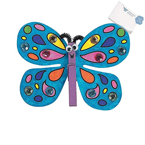 Bargain World Foam Clothespin Butterfly Magnet Craft Kit (With Sticky Notes) -