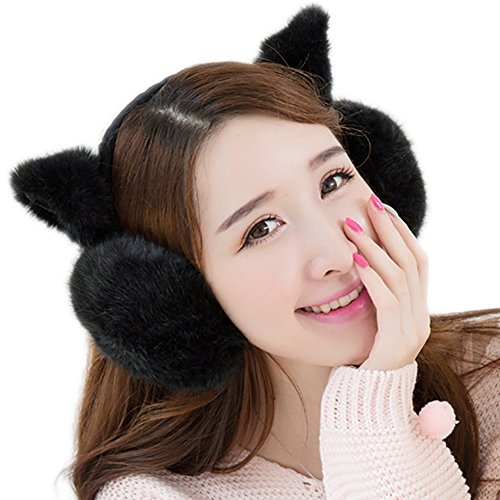 Lalago Cute Women Cat Ears Earmuffs (black)