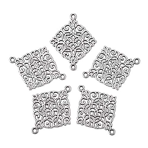 Beadthoven 50pcs Antique Silver Rhombus Connectors Alloy Tibetan Style Rhombus Link Charms for Making Bracelets Necklaces Dangling Earrings Cadmium Free & Nickel Free & Lead Free| ()