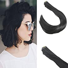Sunny 16inch Real Human Hair Extensions Jet Black #1 Tape in Hair Extensions Virgin Brazilian Hair 10pcs 25g/Package