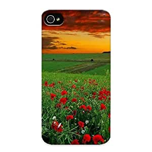 Fashion Tpu Case For Iphone 4/4s- Green Field Of Flowers Defender Case Cover For Lovers