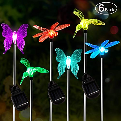 Solar Garden Lights Outdoor 6pack OxyLED Figurine Stake Light Color Changing Decorative Landscape Light LED Solar Powered Hummingbird Butterfly Dragonfly for Patio Yard Pathway Halloween Christmas