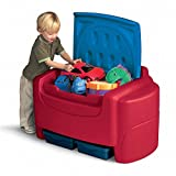 Top Seller Highest Rated Toddler Baby Kids Childrens Toy Chest Bin Organizer- Solid Plastic Construction in Vibrant Colors- Storage Bins for Barbies or Hot Wheels- Detachable Lid- Toy Chest Storage