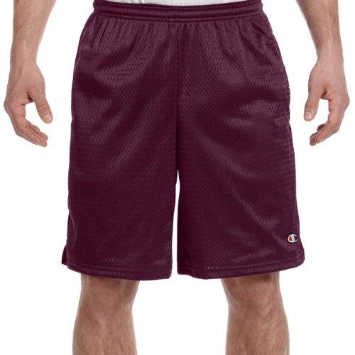 Champion Men's Long Mesh Short with Pockets,Maroon,Large School Mens Short