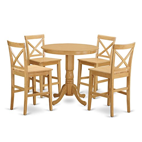 East West Furniture JAPB5-OAK-W 5 Piece High Top Table and 4 Kitchen Chairs Set