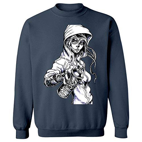 Peaceful Spirits - Graffiti Tag Skeleton Ghetto Girl - Sweatshirt Navy