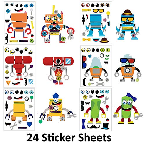 Make A Sticker Sheets (4.5 x 6.5 inches) - Great for Kid's Stocking Stuffers, Easter Basket Stuffers, Party Favors, Kid's Travel Activities (24 Sticker Sheets, Make-A-Robot) ()
