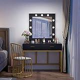 Tribesigns Vanity Table with Lighted Mirror, Makeup Vanity Dressing Table with 9 Lights and 2 Drawers for Women, Dresser Desk Vanity Set for Bedroom, Gold