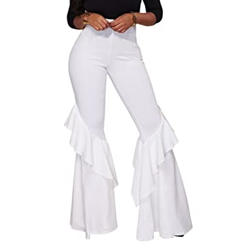 01ab8828f0 GUOLEZEEV Womens Soft Chic Fit and Flare Bell Bottom Long Pants White XL