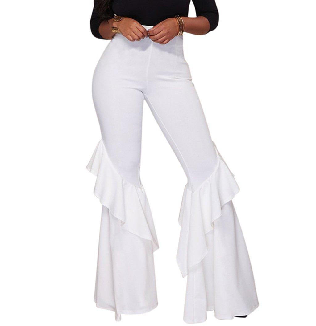 GUOLEZEEV Women Comfy Chic Ruffle Flared Bottom Wide Leg Pants White L