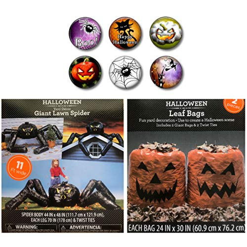 Price comparison product image Giant Lawn Spider and Jack O'lantern Pumpkin Leaf Bag Halloween Lawn Yard Decorations with Coordinating Magnet Set Bundle