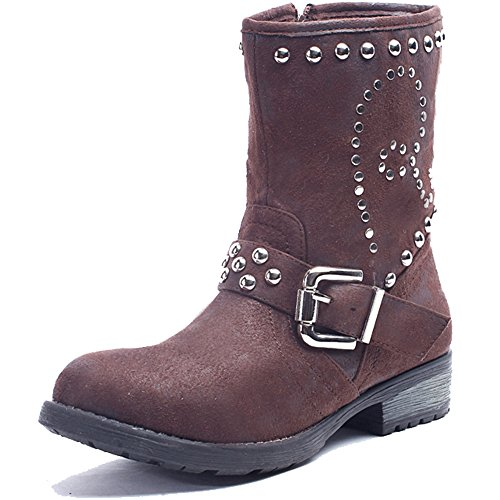 Alexis Leroy - Fashionable Studded Buckle Style Solid Combat Boots para mujer marrón