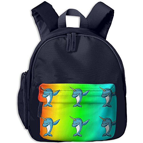 HZamora_DM Girl Rainbow Dabbing Narwhal Whale Cute Oxford School Bag Backpacks Bookbag Lunch Bag Side Pocket - Delivery Online Next Buy Day