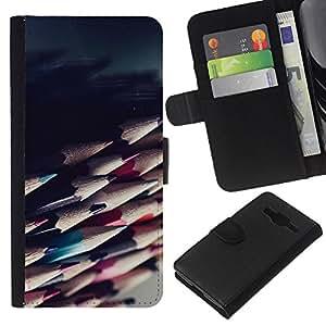 EJOY --- Funda cartera Funda de piel Premium piel sintética caso/Samsung Galaxy Core Prime/–-pencils Sharp ilustraciones dibujo sombra