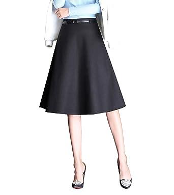 65b7f264454789 Damen Elegante Wollrock a Linie Herbst Winter Röcke Knielang Hohe Taille  Ausgestelltem Rock mit Gürtel (