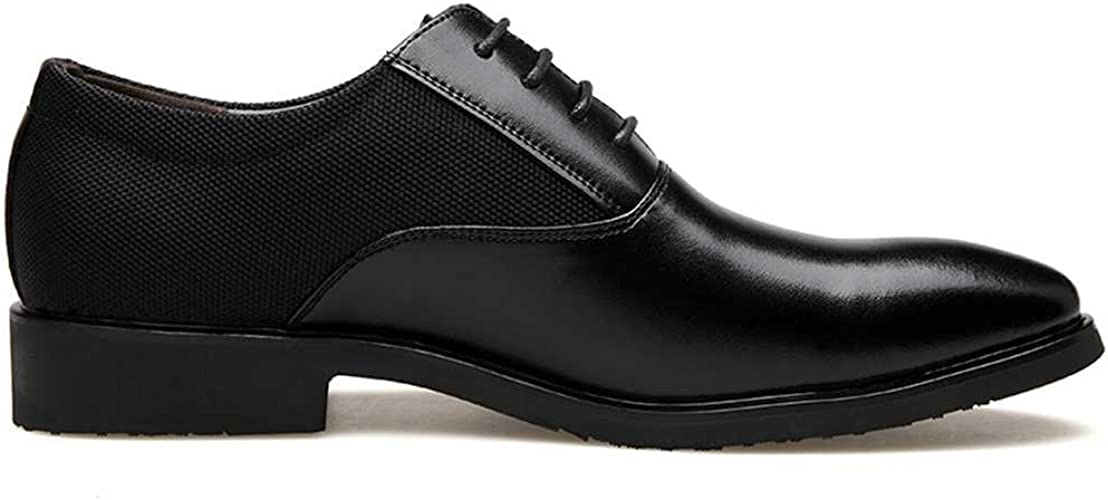 Weback Oxford Shoes for Men Formal Shoes Lace Up Style Microfiber Leather Pointed Toe Low Top Pure Colors Fashion Mens Shoes Color : Black, Size : 9 M US