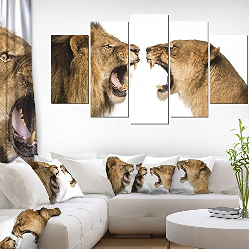 Lion and Lioness Roaring Abstract on Canvas Art Wall  Artwork Print
