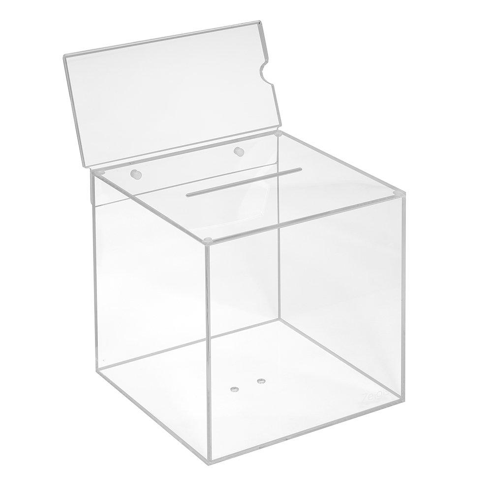 Votaciones de acrílico cristal en 200 x x x 200 x 200 mm con pizarra DIN Largo Horizontal – zeigis®/Dona Caja/caja/sorteo bicicletaDerbystar parte Box/transparente/transparente/acrílico/Plexiglas 9421a7