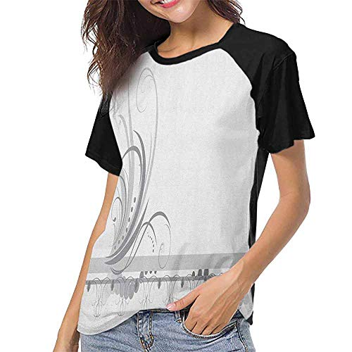 (Grey,Print Short Sleeve S-XXL(This is for Size Extra Extra Large) Ornament Border with Artistic Swirls Dots in Rococo Style Renaissance Details,Women T Shirts Fashion)