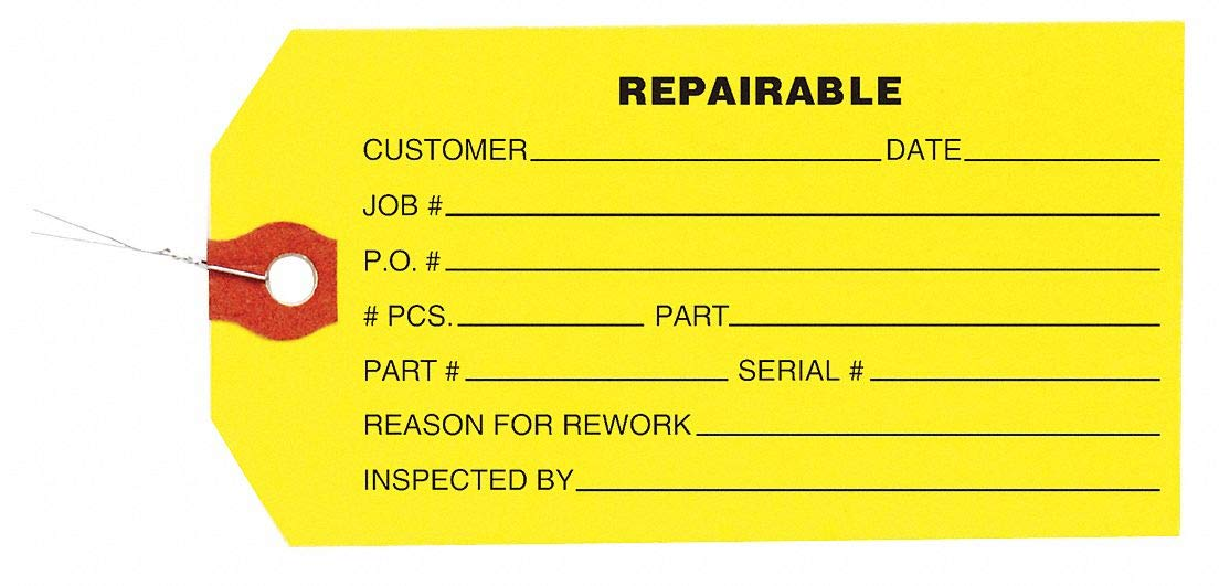 Inspection Tag, Paper, Repairable, PK1000