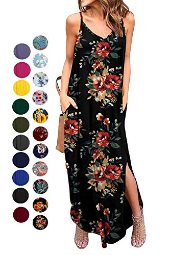 Kyerivs Women's Summer Dress Casual Loose Beach Cover Up Long Plain Print Cami Maxi Dresses with Pocket Black Flower M (10-12) (Dress Print Cami Floral)