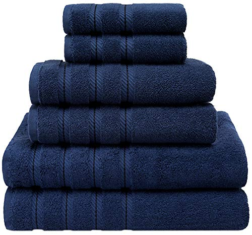 (American Soft Linen Premium, Luxury Hotel & Spa Quality, 6 Piece Kitchen & Bathroom Turkish Towel Set, Cotton for Maximum Softness & Absorbency, [Worth $72.95] (Navy Blue) )