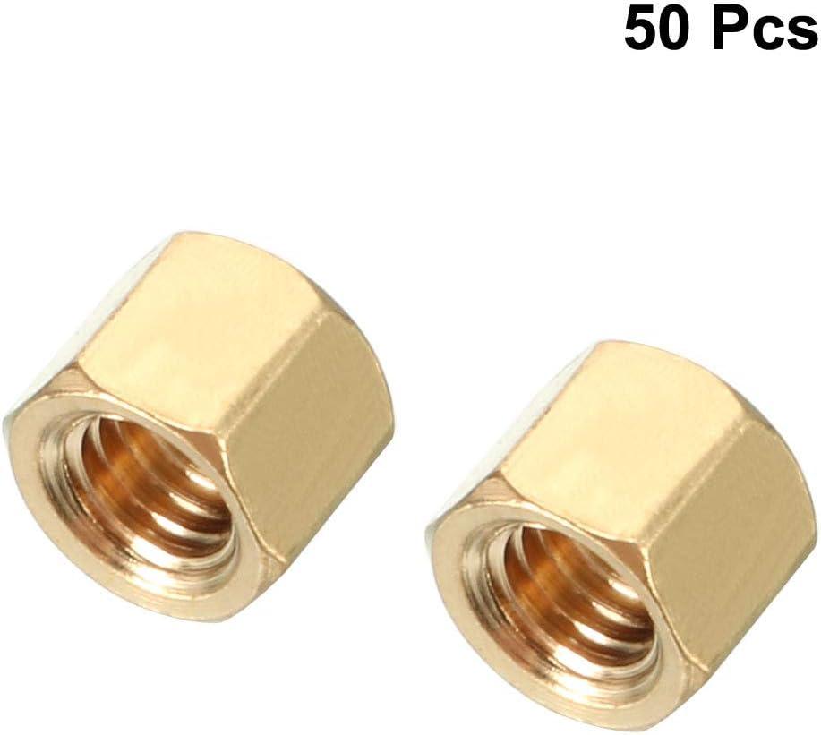 uxcell 50pcs Brass Straight PCB Pillar Female Thread Hex Standoff Spacer M3x5x4mm