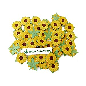 NAVA CHIANGMAI 50 Pcs Sunflowers Mulberry Paper Flowers with Brown Centre 1 inch Scrapbooking and Creative Craft Projects Handmade Thailand 76