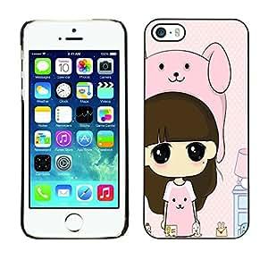 - Cartoon Girl Cute - - Monedero pared Design Premium cuero del tir¨®n magn¨¦tico delgado del caso de la cubierta pata de ca FOR Apple iPhone 5 5S Funny House