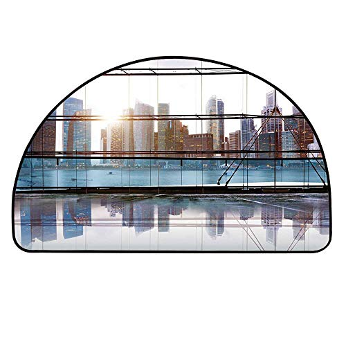 (YOLIYANA Modern Decor Half Round Door Mat,Scenery of Modern Futuristic Metropolitan City with Skyscrapers for Indoor Outdoor,17.7