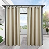 Cottontree Homesoft Outdoor Decor Antique Bronze Grommet Curtains/Drapes Panels For Patio,Front Porch,Gazebo With Rope Tieback, 52″ W x 96″ L,Beige Review
