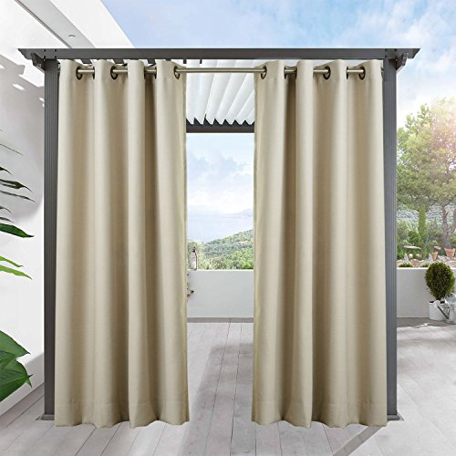 """Outdoor Curtains for Patio-FirstHomer Privacy Outdoor Blackout Grommet Drape for Porch,Gazebo,Cabana with Rope Tieback,200"""" W x 84"""" L,Beige"""