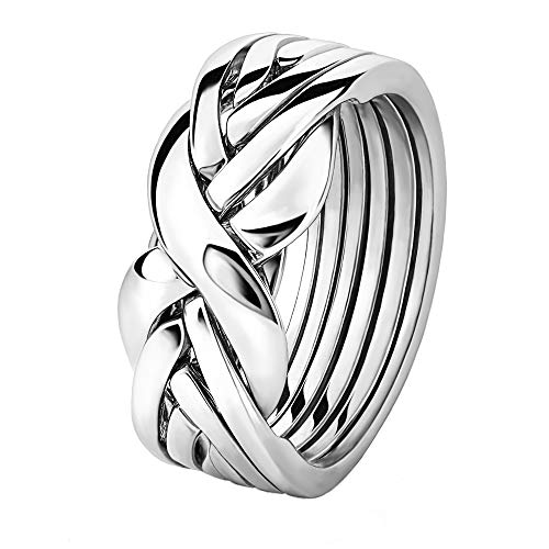 Sterling Silver Puzzle Ring 6BSL - Size: 9 (Claddagh Puzzle Ring)
