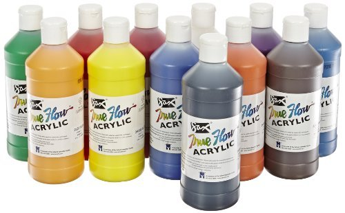 Sax True Flow Acrylic Paint - Pint - Set of 12 - Assorted Colors by Sax School Specialty